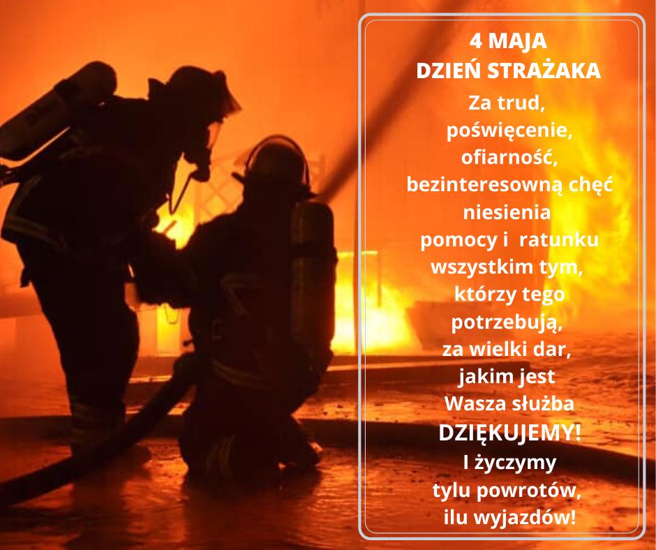 Życzenia z okazji dnia strażaka. W tle pożar i dwóch strażaków gaszących go