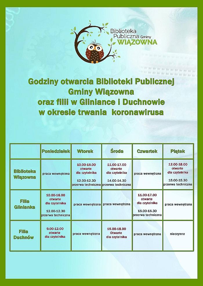 Rozpiska z godzinami pracy biblioteki w Wiązownie i jej filii w Gliniance i Duchnowie
