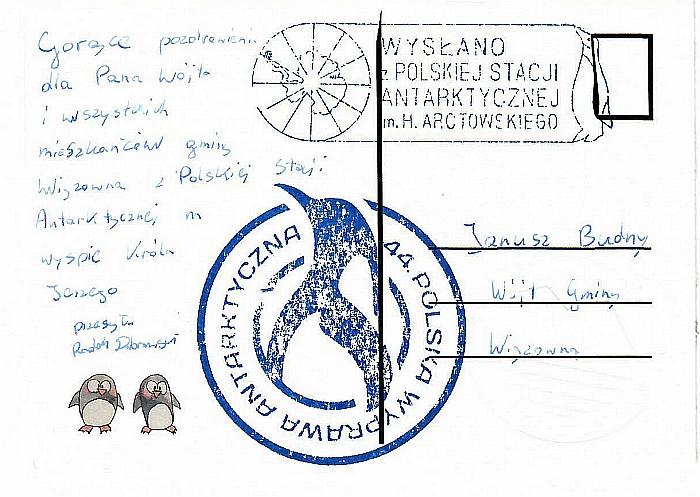 Kartka pocztowa z pozdorowieniami z Antaktyki od naszego mieszkańca