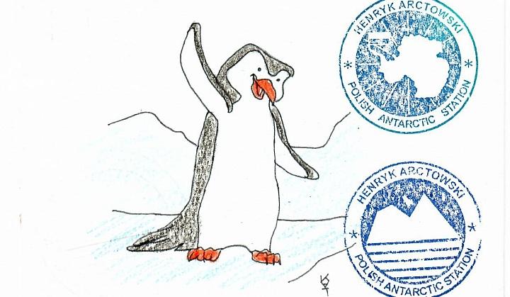 Kartka pocztowa, a na niej grafika z pingwinkiem oraz dwoma pieczątkami z stacji na antaktydzie