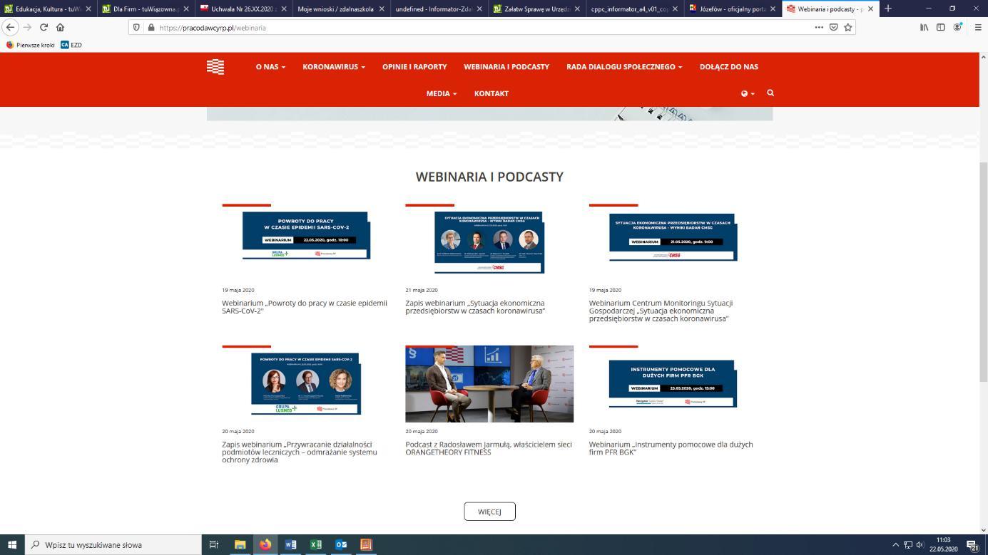 Scrin storny z webinarami dla przedsiębiorców