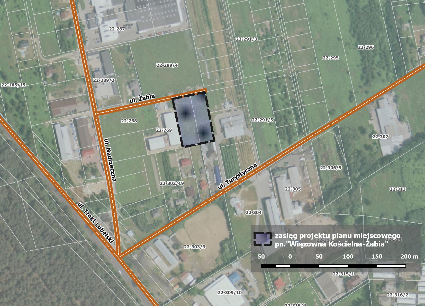 Mapa z zakresem nowego miejscowego planu zagospodarowania przestrzennego dla obszaru Żabia