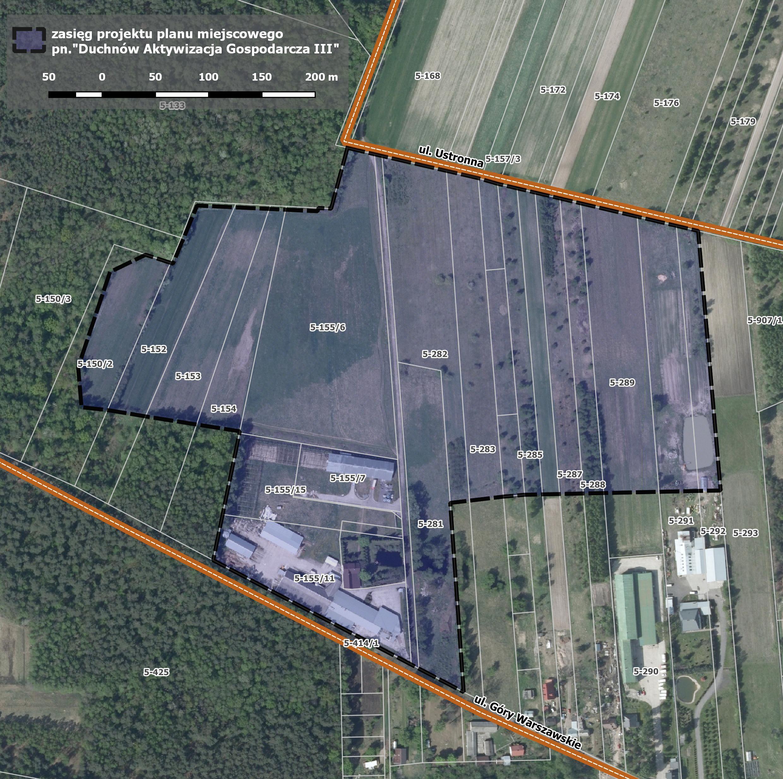 Mapa z zakresem nowego miejscowego planu zagospodarowania przestrzennego dla obszaru Duchnów