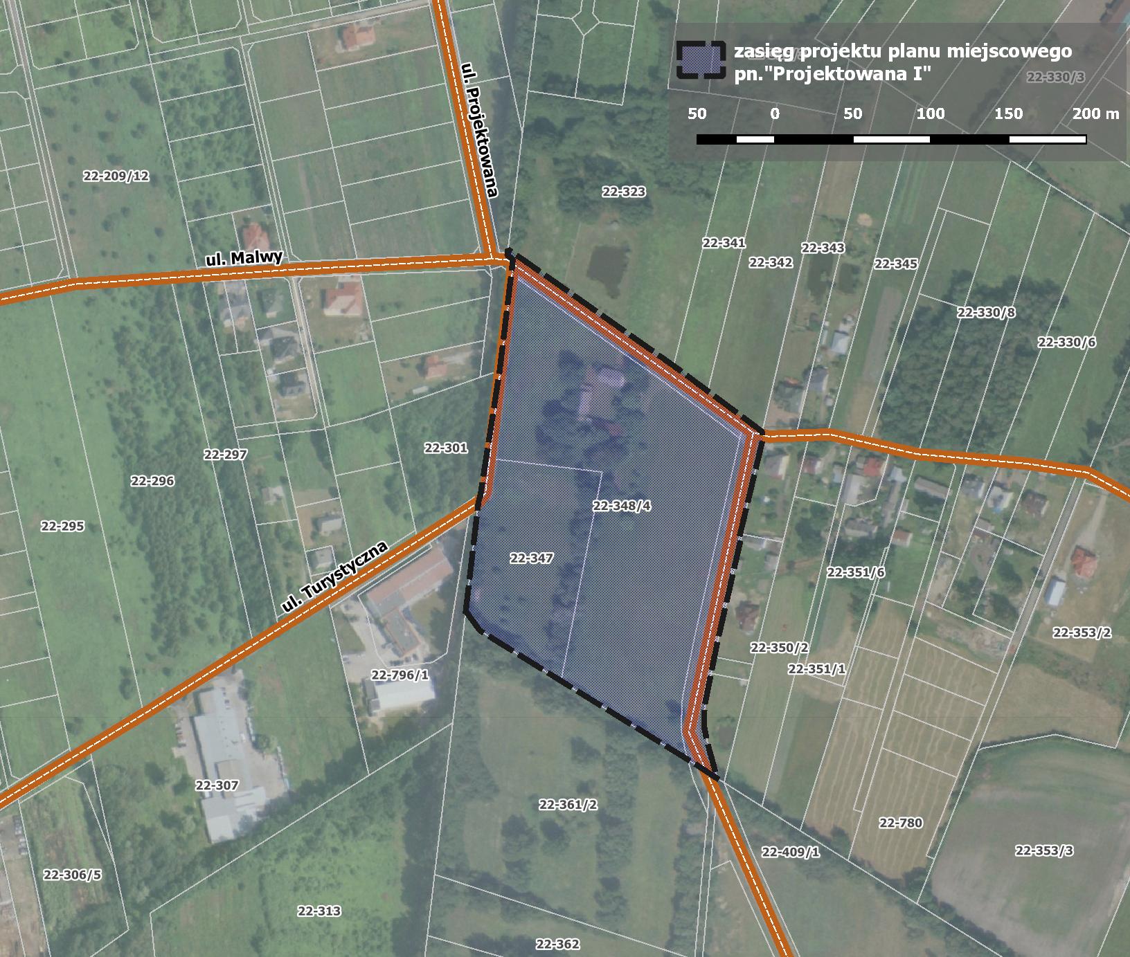 Mapa z zakresem nowego miejscowego planu zagospodarowania przestrzennego dla obszaru Projektowana