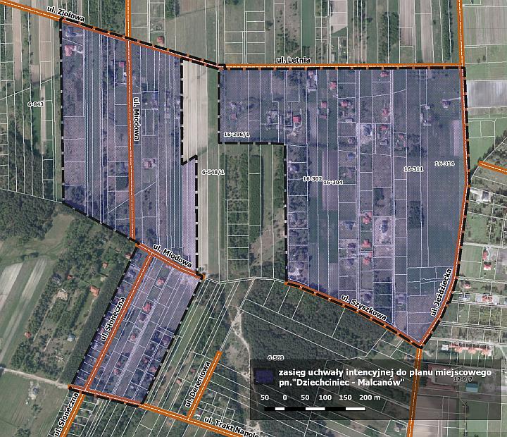 Mapa z zakresem nowego miejscowego planu zagospodarowania przestrzennego dla obszaru Dziechciniec - Malcanów