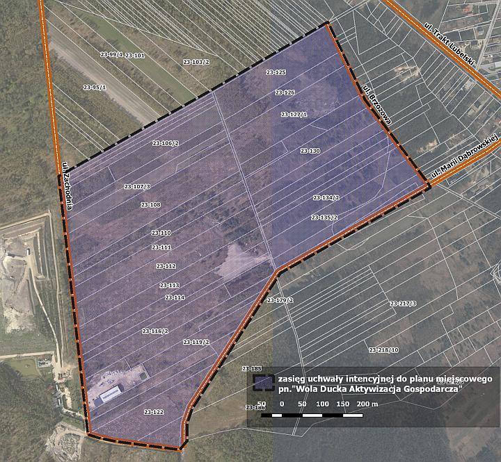 Mapa z zakresem nowego miejscowego planu zagospodarowania przestrzennego dla obszaru Wola Ducka