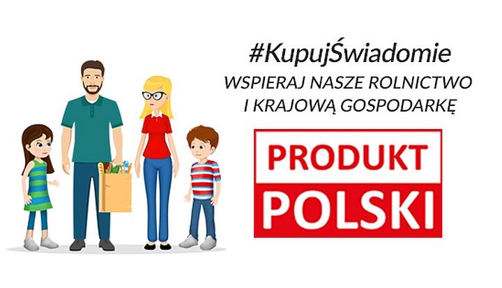 Grafika. Mężczyzna z brodą, kobieta w okularach i dwoje dzieci. Napis #KupujŚwiadomie Produkt Polski