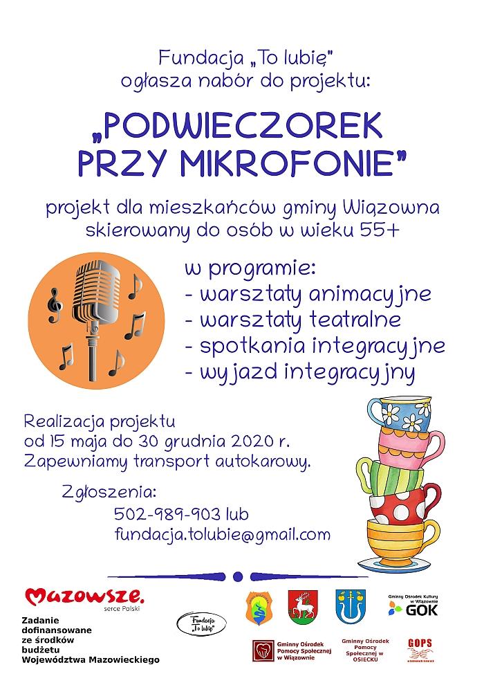 """Plakat projektu """"Podwieczorek przy mikrofonie"""""""