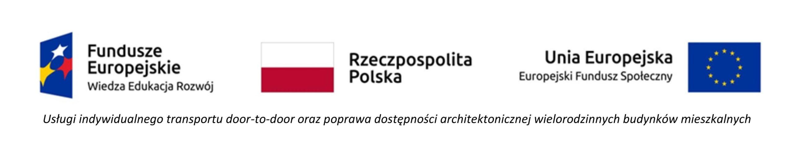 Lgotyp. Po lewej znak Funduszy Europejskich, w Srodku flaga polski, po prawej flaga Unii Europejskiej