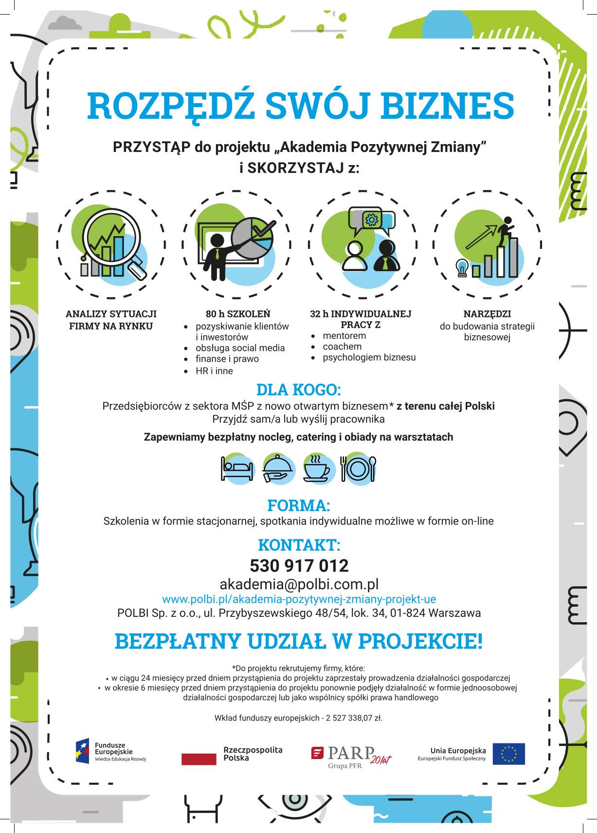 Plakat Akademii Pozytywnej Zmiany - darmowych szkoleń dla przedsiębiorców