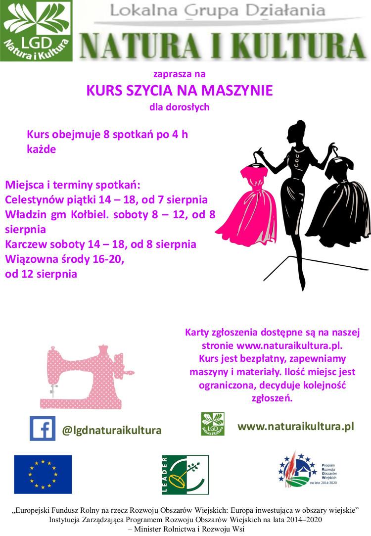 Plakat z informacją o kursie szycia dla mieszkańców gminy wiązowna