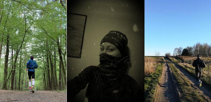 Po lewej mężczyzna biegajaćy po lesie, w środku kobieta z zakrytą twarzą, po prawej mężczyzna biegający po polnej drodze