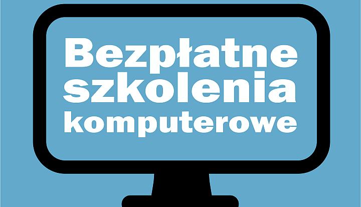 Na niebieskim tle zarys monitora komuputerowego i napis Bezpłatne szkolenie komputrowe