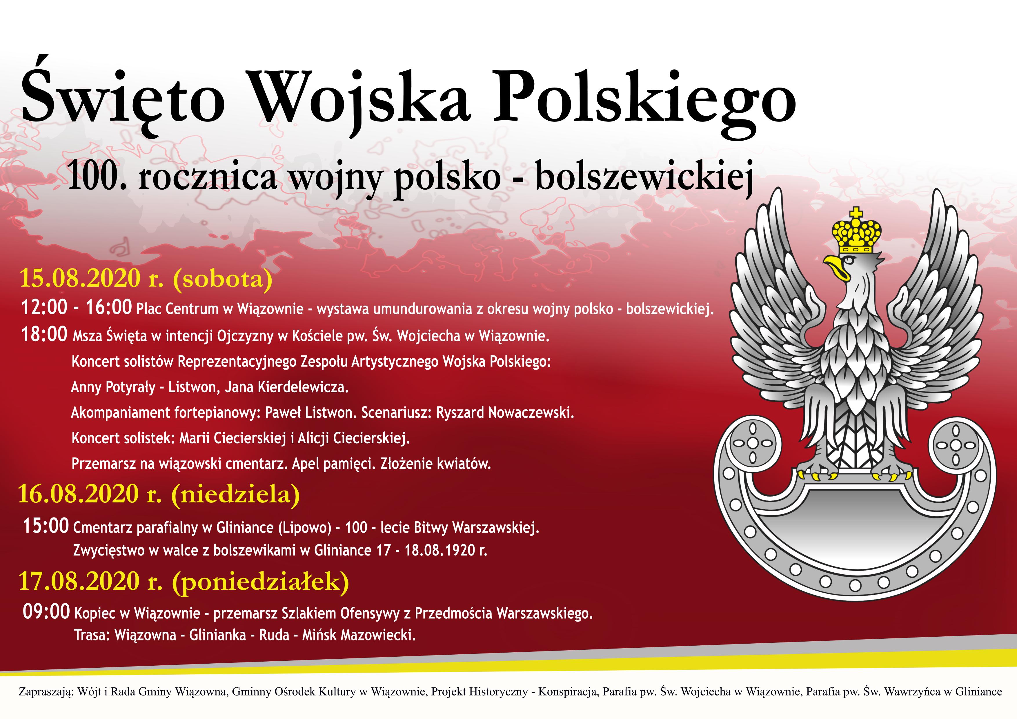 Plakat gminnych obchodów Święta Wojska POlskiego w Gminie Wiązowna