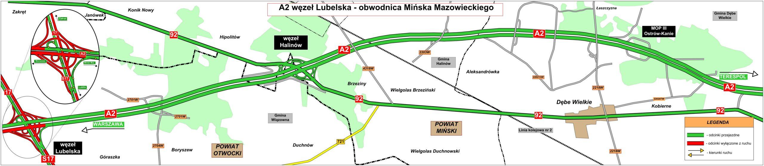 Mapa drogi dojazdowej z Mińska Mazowieckiego do Warszawy na nowym odcinku trasy A2