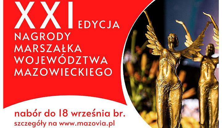 Plakat 11 edycji Nagrody Marszałka Województwa Mazowieckiego. Po lewej napis, po prawej złota statuetka