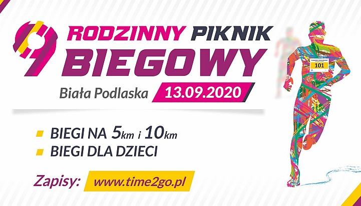 Plakat 9 Pikniku biegowego Biała Biega w Białej Podlaskiej, który odbędzie się 13 września 2020 roku