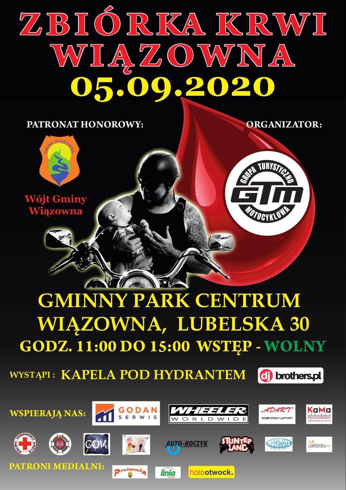 Plakat informujący o zbiórce krwi, która odbędzie się 5 września 2020 r. na terenie Gminnego Parku Centrum