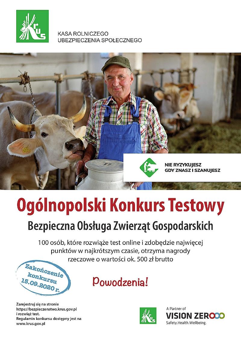 Plakat dotyczący Ogólnopolskiego Konkursu Testowego organizowanego przez KRUS