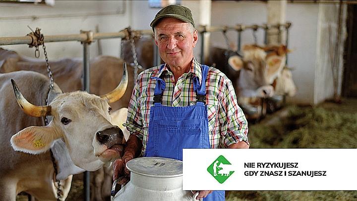 Rolnik w kraciastej koszuli i niebieskich ogrodniczkach trzyma kankę z mlekiem. Obok krowa