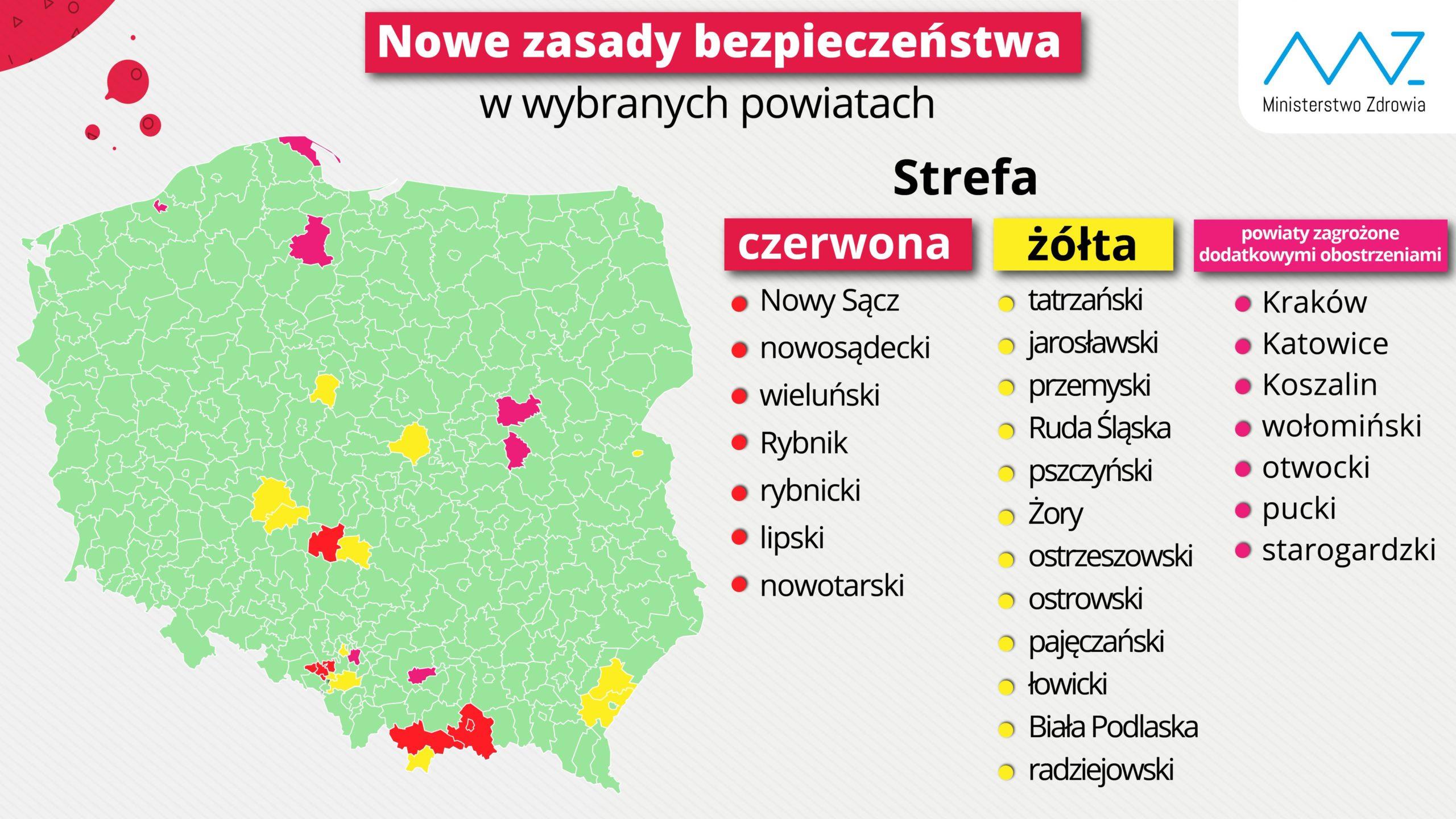 Infografika z mapą Polski, na której zaznaczono powiaty, gdzie wprowadzono obostrzenia związane z koronawirusem.