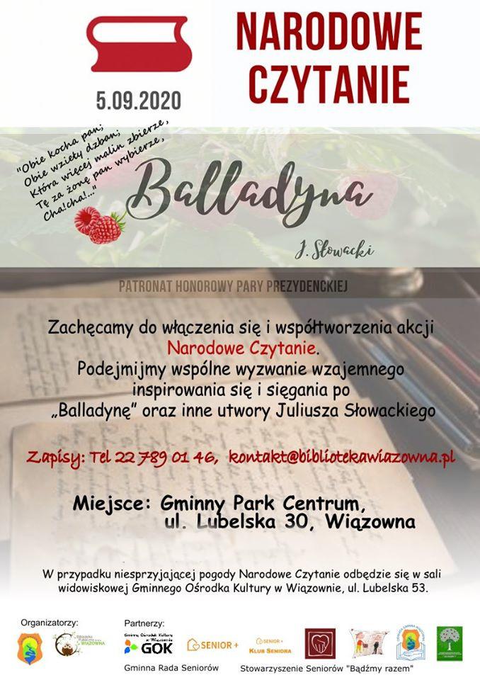Plakat z napisem Narodowe Czytanie, Balladyna