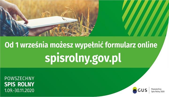 Plakat informujący o tym, że 1 września ruszyła akcja Powszechnego Spisu Rolnego