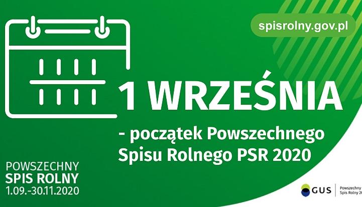 Na zielonym tle info o tym, że 1 września rusza Powszechny Spis Rolny