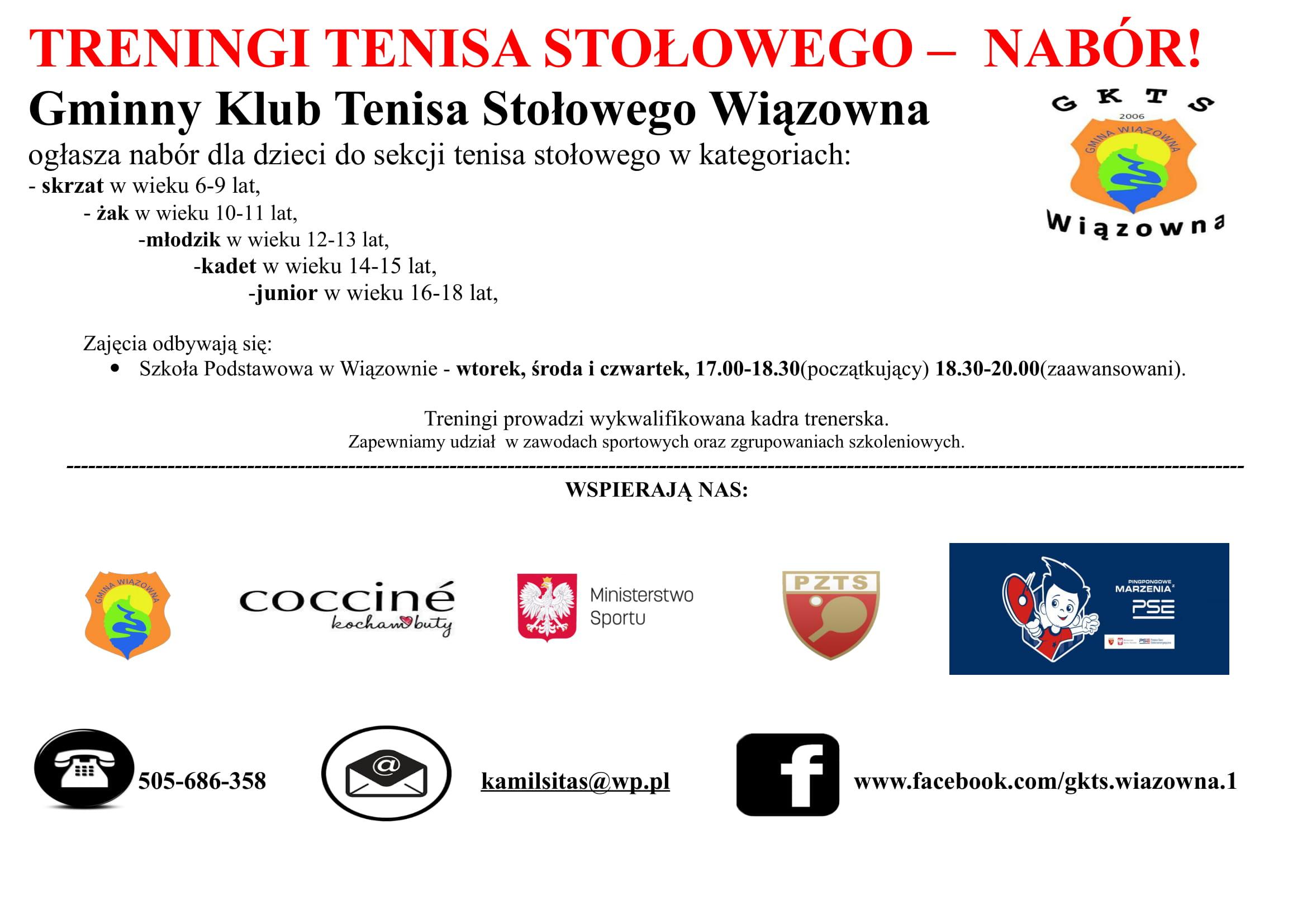 Plakat informujący o naborze do gminnego Klubu Tenisa Stołowego