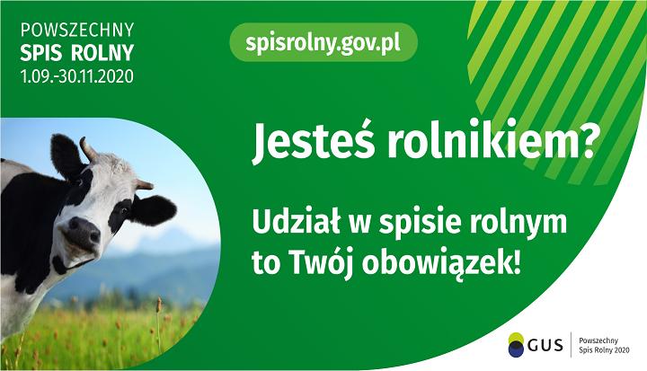 Plakat informujący o tym, że 1 września ruszyła akcja Powszechnego Spisu Rolnego i że to obowiązek każdego rolnika