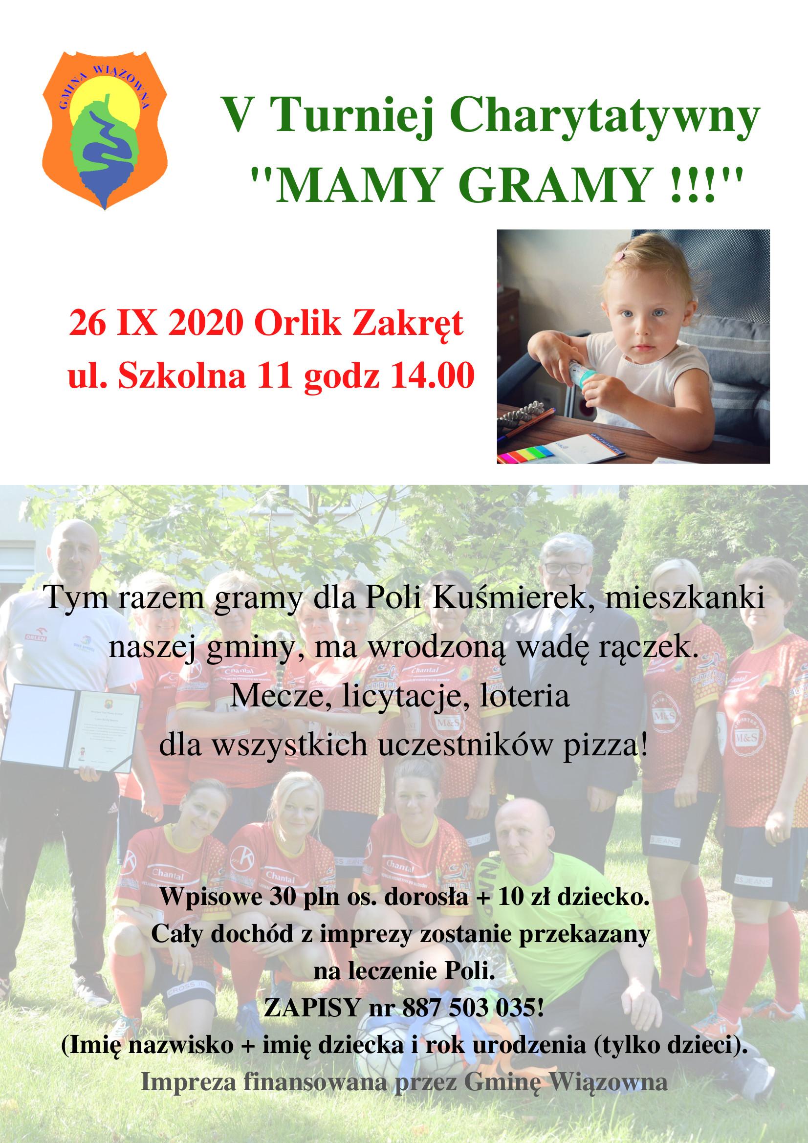 """Plakat turnieju """"Mamy gramy!!!"""". Turniej charytatywny odbędzie się 26 września na"""