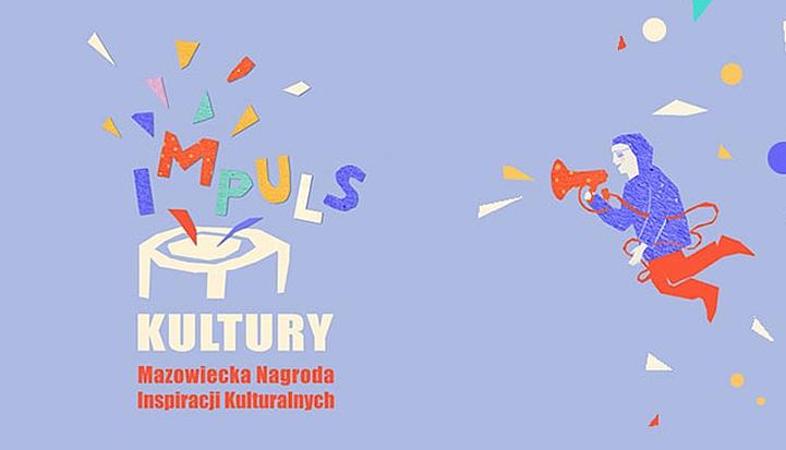 Plakat konkursu Impuls Kultury. Po lewej nazwa, po prawek grafika - człowiek krzyczący coś przez czerwony megafon