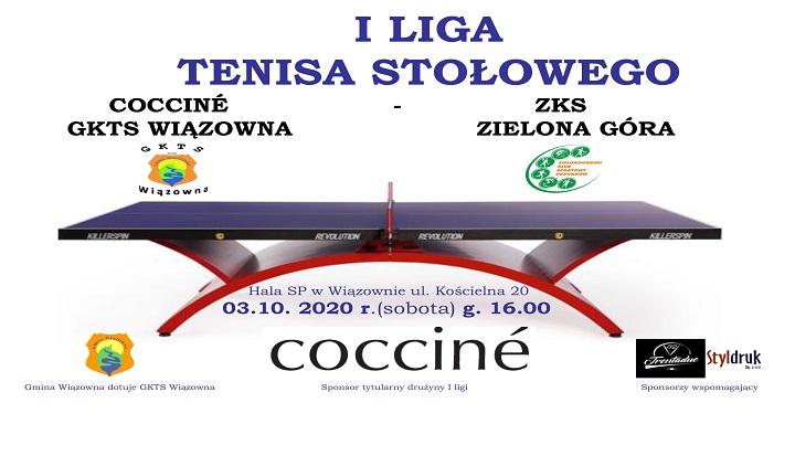Plakat informujący o meczy I ligi tenisa stołowego w szkole w Wiązownie, który odbędzie się 3 października o godz. 16.00
