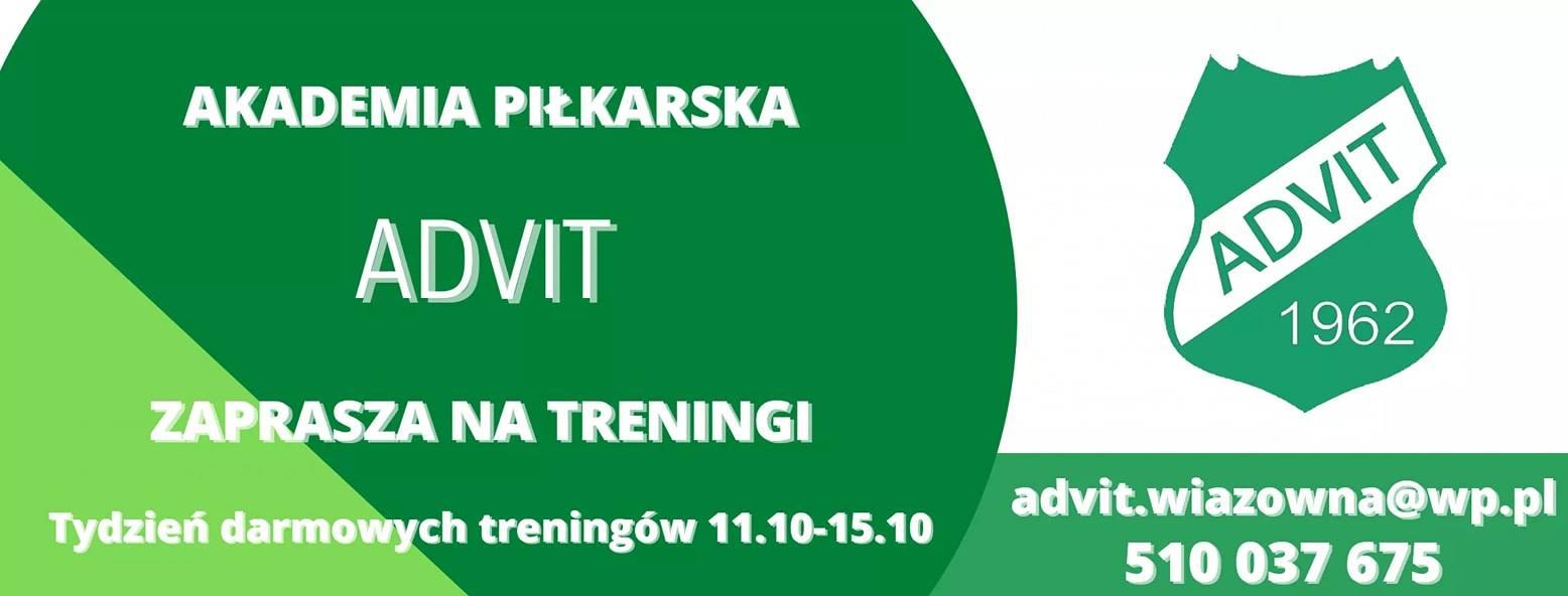 Infografika Klubu Advit Wiązowna dotycząca Akademii Piłkarskiej i treningów dla dzieci i młodzieży na boisku klubu w Wiązownie