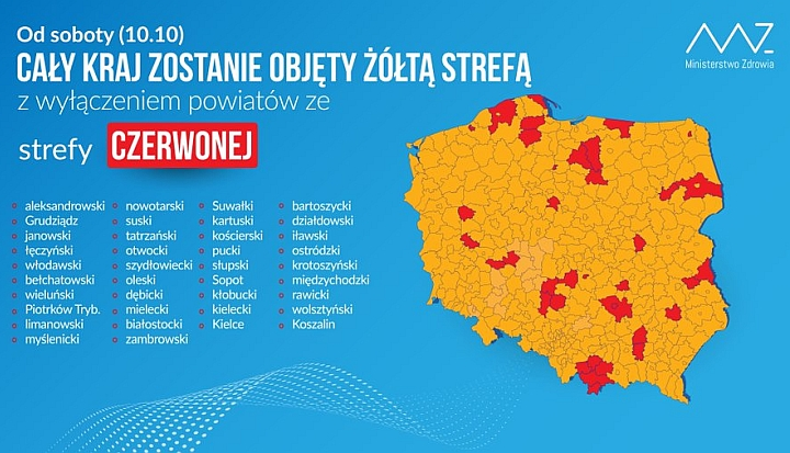 Wykaz stref czerwonych i żółtych na terenie całej Polski