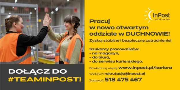 Baner firmy Inpost z informacją, że poszukują pracowników do oddziału w Duchnowie