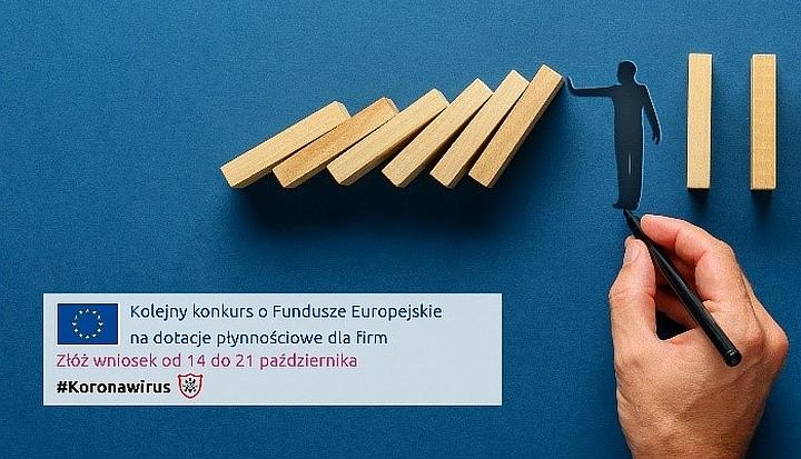 Na ciemnoniebieskim tle ręka rysuje człowieka, który podtrzymuje upadające domino. Pod spodem info o konkursie na dotacje z UE dla firm