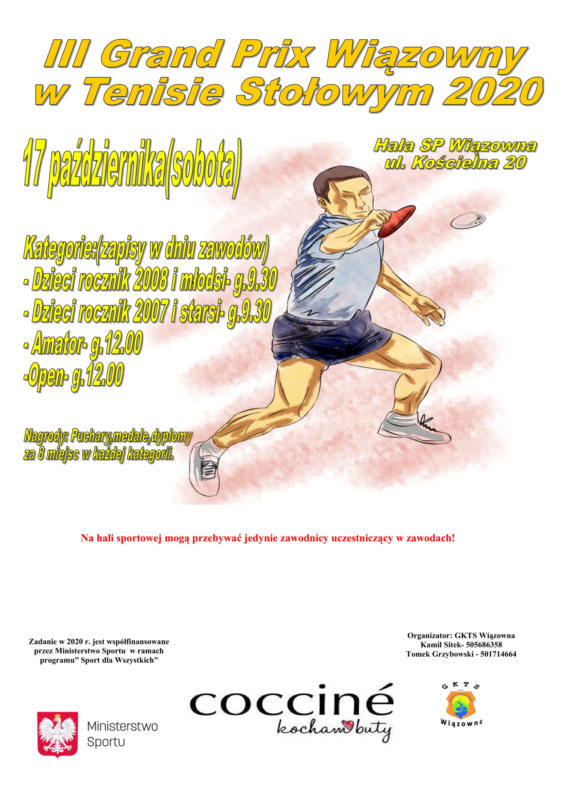 III Grand Prix Wiązowny w Tenisie Stołowym 2020 odbędzie się 11 października w Szkole Podstawowej w Wiązownie