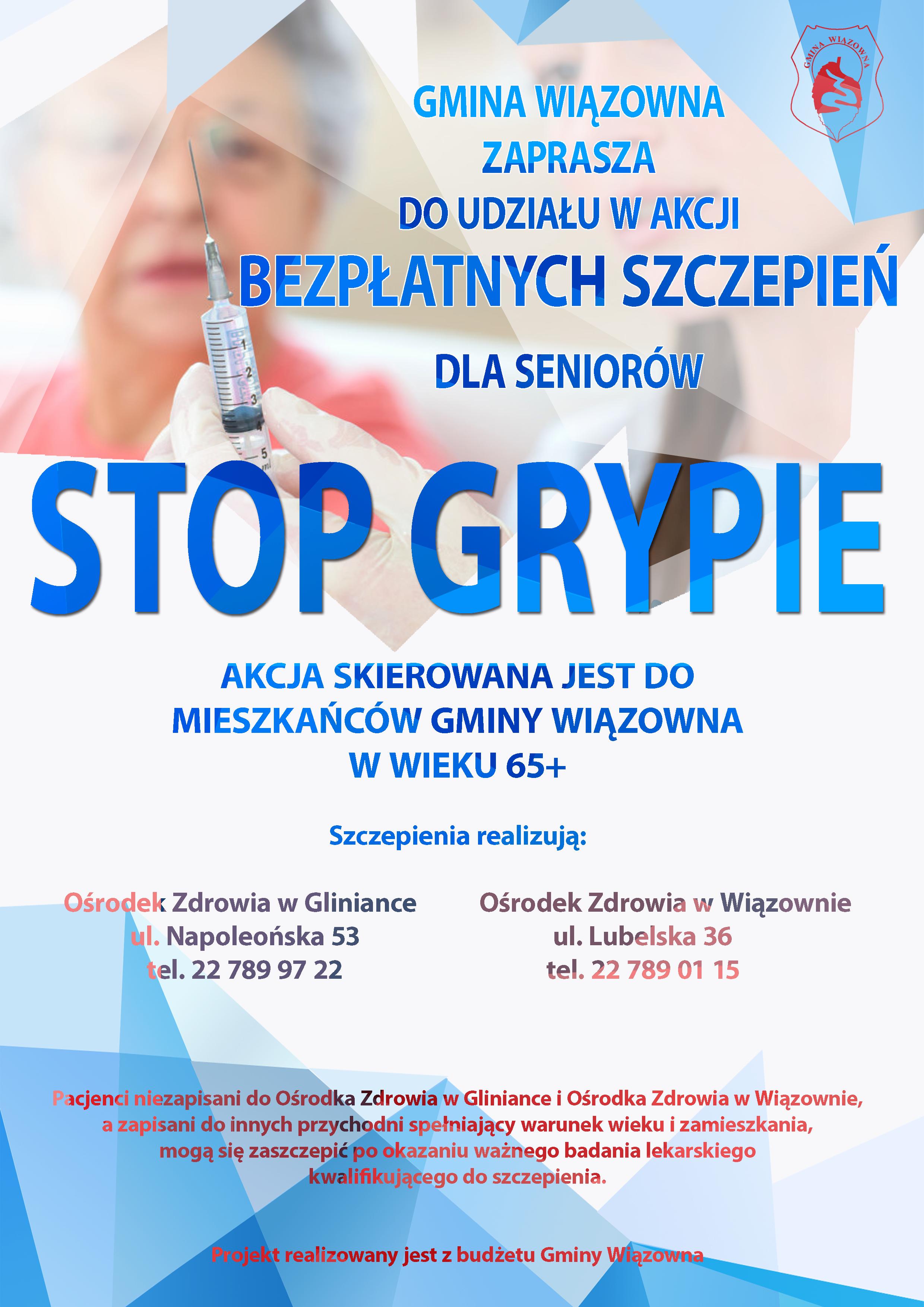 Plakat informujący o szczepieniach przeciw grypie dla seniorów z Gminy Wiązowna