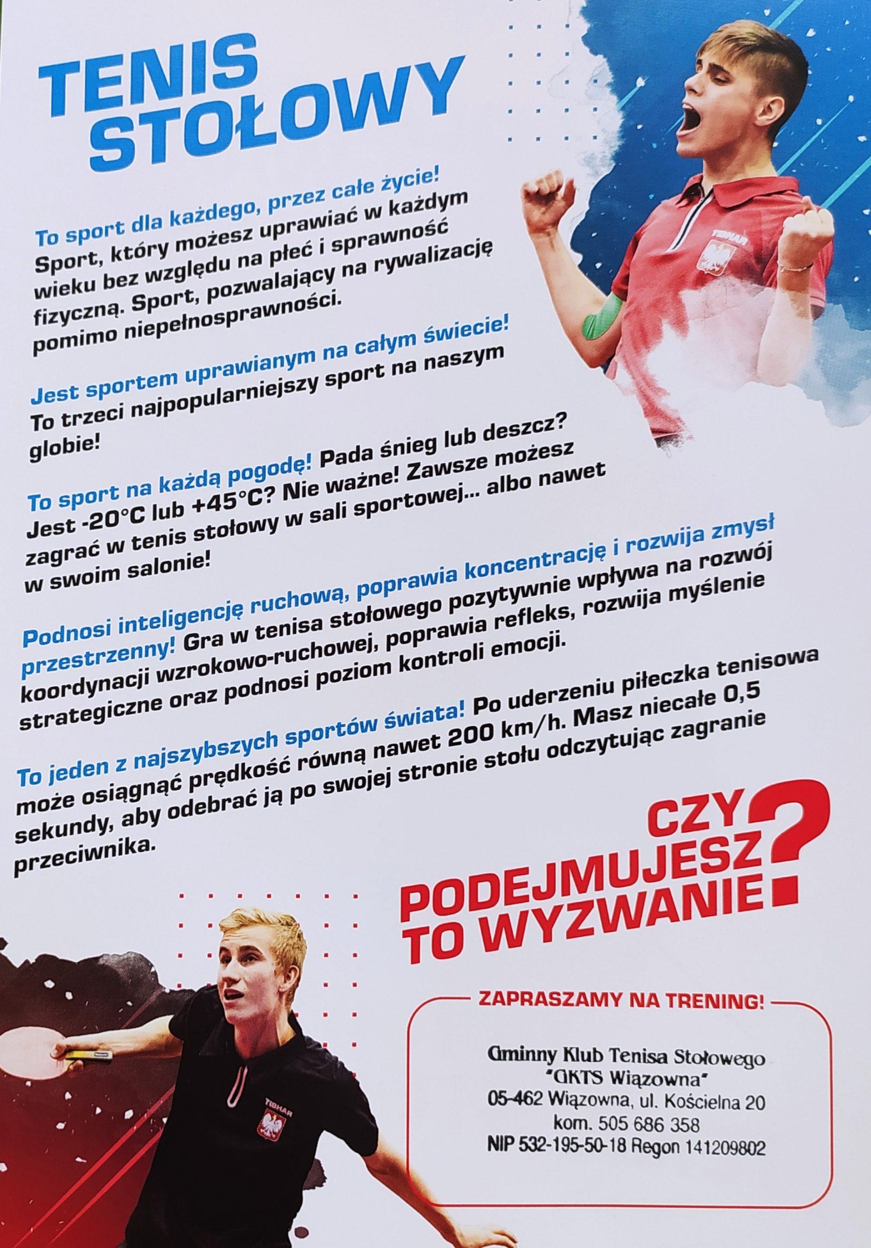 """Plakat promujący akcję """"Spotkaj się z Mistrzem w Swojej Szkole""""- spotkania promujące tenis stołowy w szkołach podstawowych."""