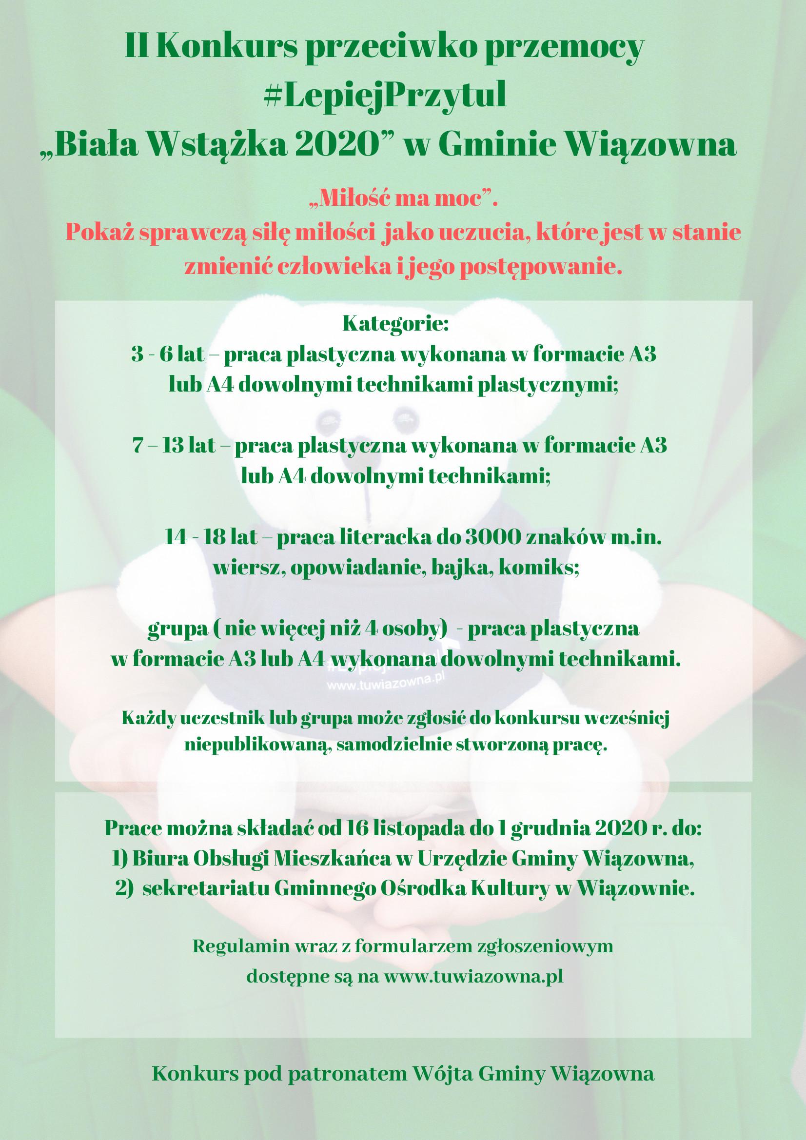 """Plakat z informacją o konkursie plastycznym w ramach kampanii przeciwko przemocy """"Biała wstążka 2020"""""""