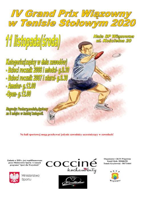 Plakat IV Grand Prix Wiązowny w Tenisie Stołowym