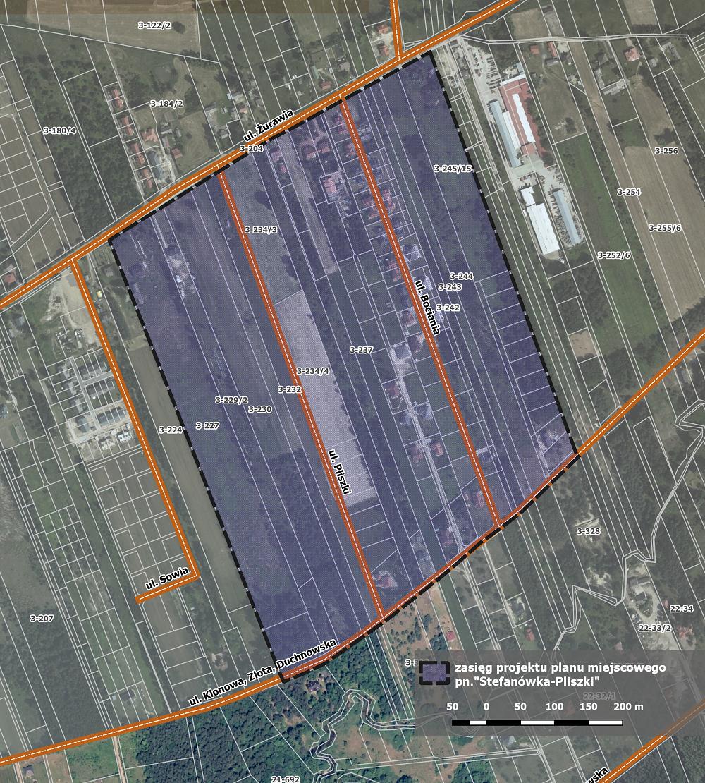 """Mapa. """"Stefanowka -Pliszki"""" przystąpiliśmy do sporządzania nowego miejscowego planu"""