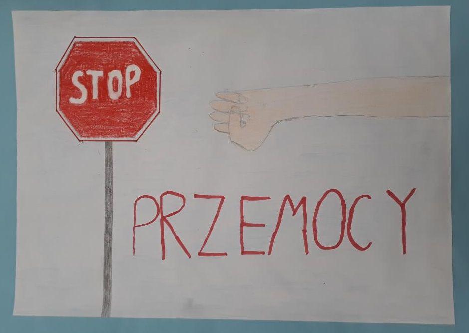 Prace uczniów ze Szkoły Podstawowej w Wiązownie na temat przemocy