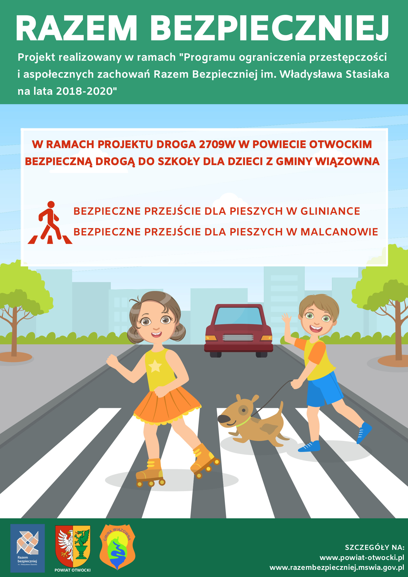 """Plakat Zarządu Druk Powiatu Otwockiego dotyczący akcji """"Razem bezpieczniej"""""""