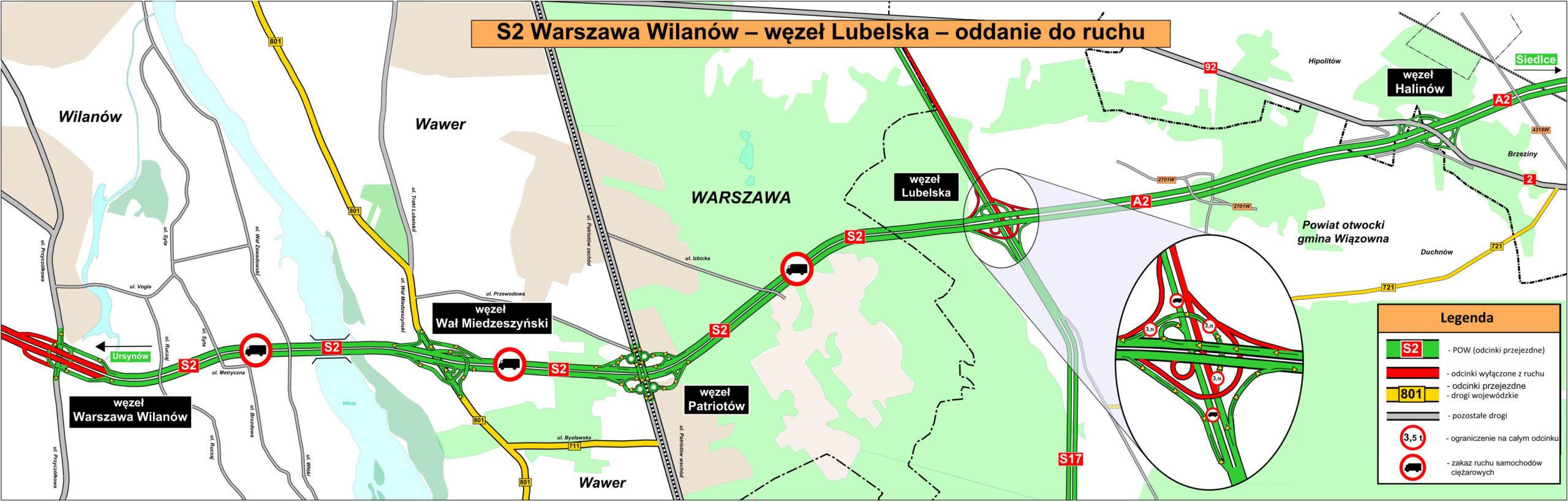 """Przebieg trasy S2 od Wilanowa do węzła """"Lubelska"""""""