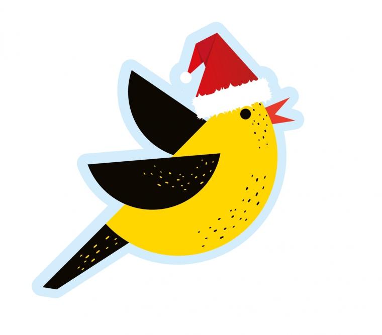 Żółto- czarny ptaszek w czapeczce świętego Mikolaja. Znak wydawnictwa Wilga