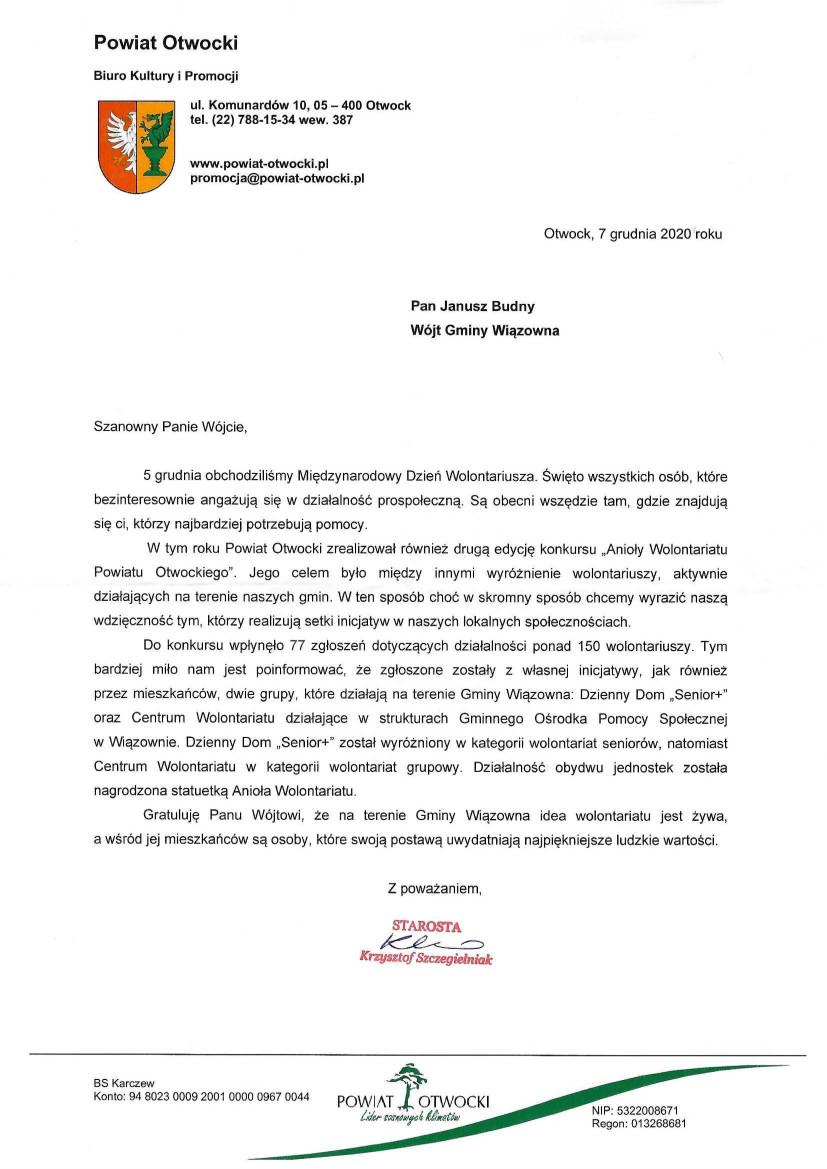 """List z gratulacjami od Starosty Otwockiego dla Gminy Wiązowna dotyczący nagrody """"Anioły wolności"""" dla naszych gminnych wolontariuszy"""
