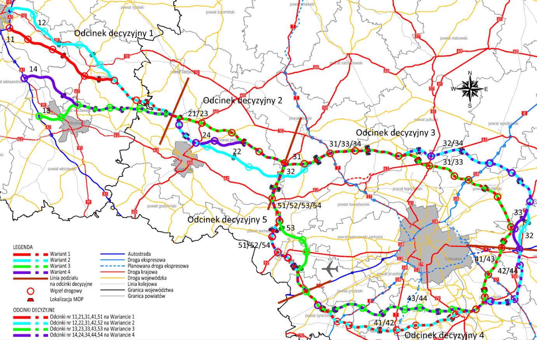 Mapa. Przebieg rozpatrywanych Wariantówdrogi ekspresowej S10 i Obwodnicy Aglomeracji Warszawskiej.