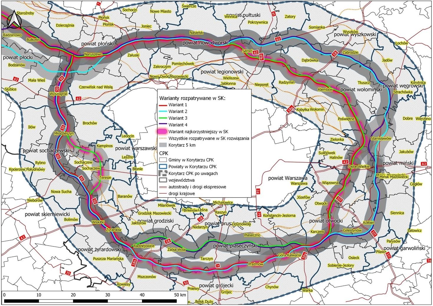 Mapa. Optymalna kombinacja najkorzystniejszych wariantów trasy